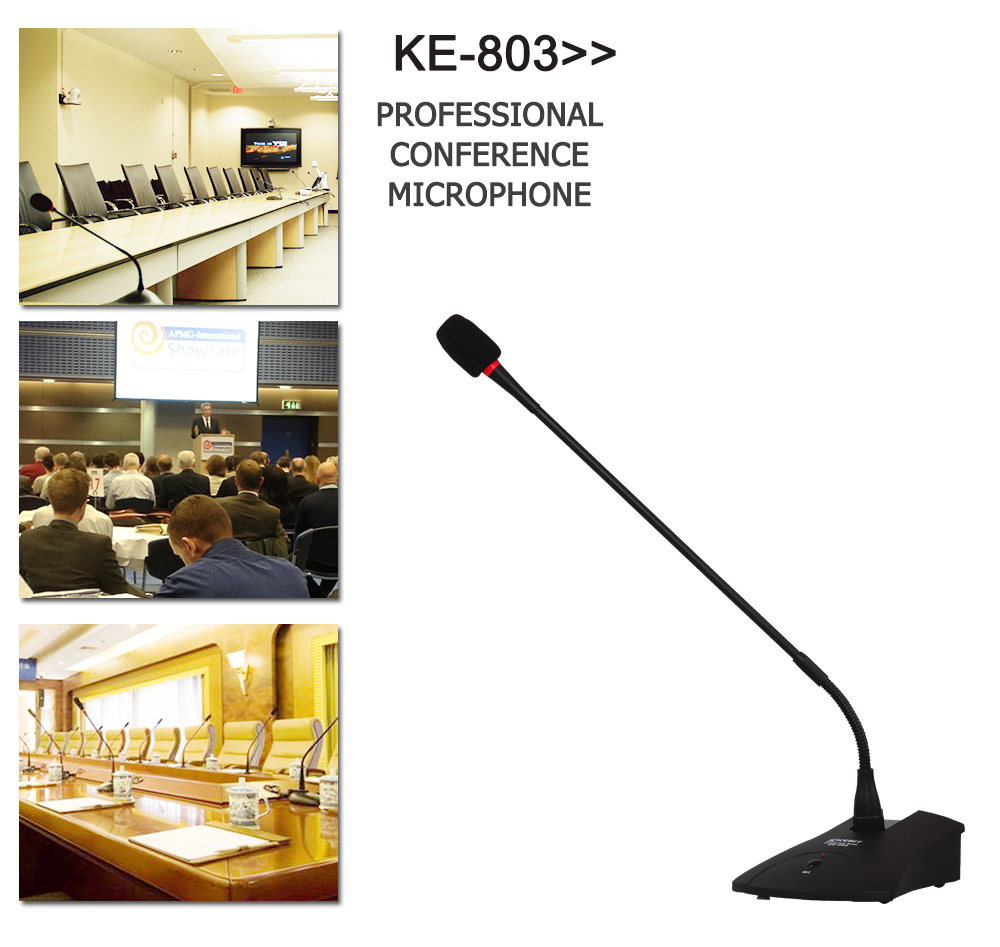 KE-803 KEBIT Conference Table Microphone / Conference Room Audio Sound System Microphone Stand
