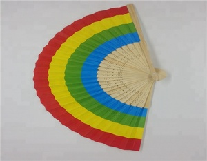 Promotional bamboo paper fabric custom printed folding hand fan