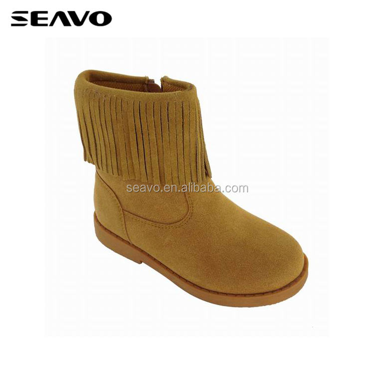 SEAVO AW18 new pu suede upper with fringe design brown ankle boots for girls