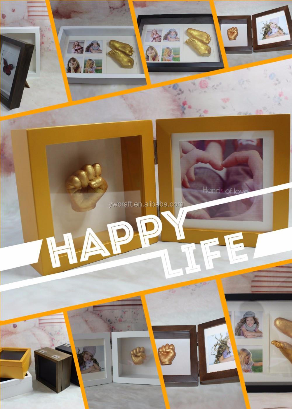 3d Massivholz Baby Handprinting Diy Shadow Box Bilderrahmen ...