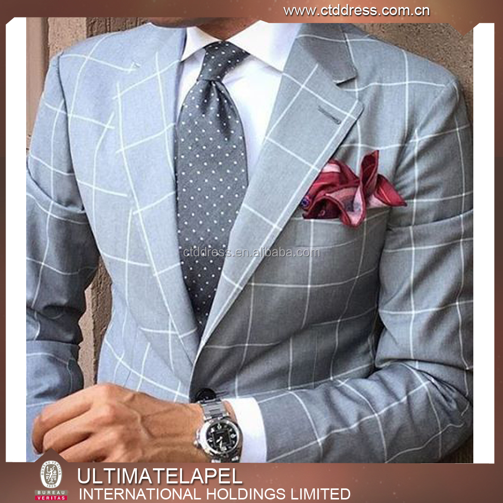 2016 hot selling 2 knop custom tailored ruit pak voor mannen