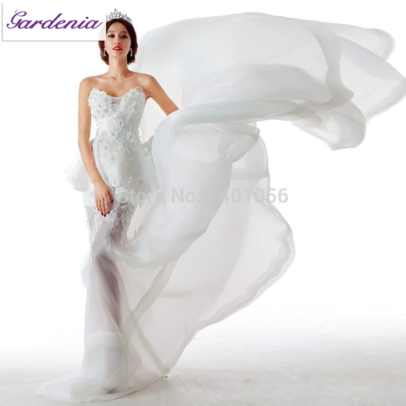 Actual Wedding Gown Illusion Organza Sweetheart Mermaid Top Selling Bridal Gown Vestido De Novia 2015 Peplum Wedding Dresses