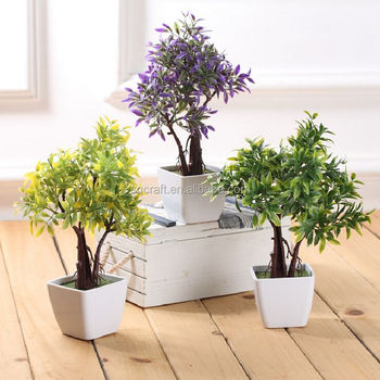 artificial flowers trees ceramic pot small potted plant fake pot