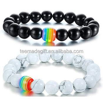 bb728d03f3e9 Orgullo LGBT Arco Iris pulsera Lava Rock ojo de tigre piedra pulseras para  Gay lesbiana