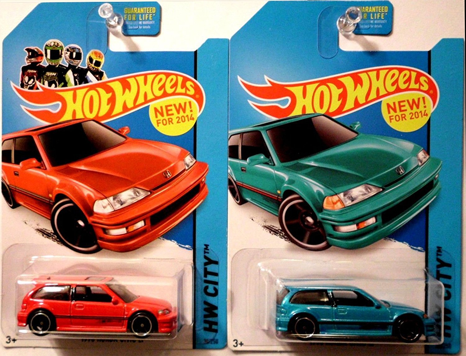 HONDA CIVIC Hot Wheels - 2014 HW City - Night Burnerz - Set of 2: Teal & Red 1990 Honda Civic EF 1:64 Scale Collectible Die Cast Metal Toy Car Model #30/250