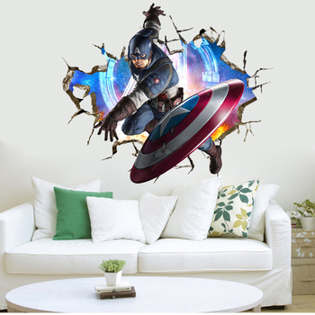 Kids Room Decoration Captain America 3d Pvc Custom Wall Stickers
