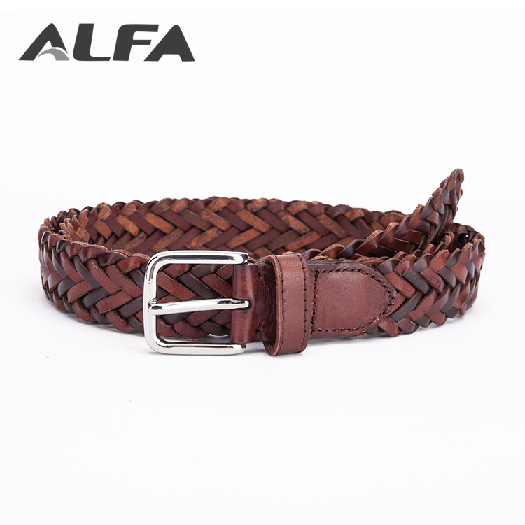 Alfa China Goods Wholesale Colorful Mens Woven Recycled Bonded Leather Braided Belts