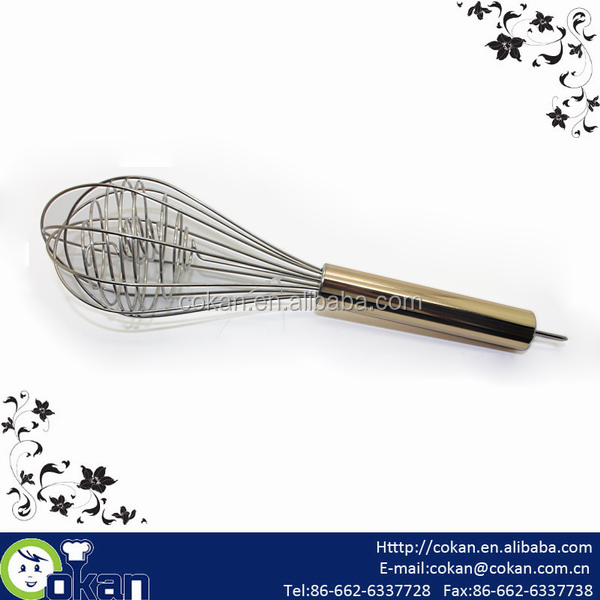 10'' Stainless Steel Mixing Whisk with golden Handle CK-EB137
