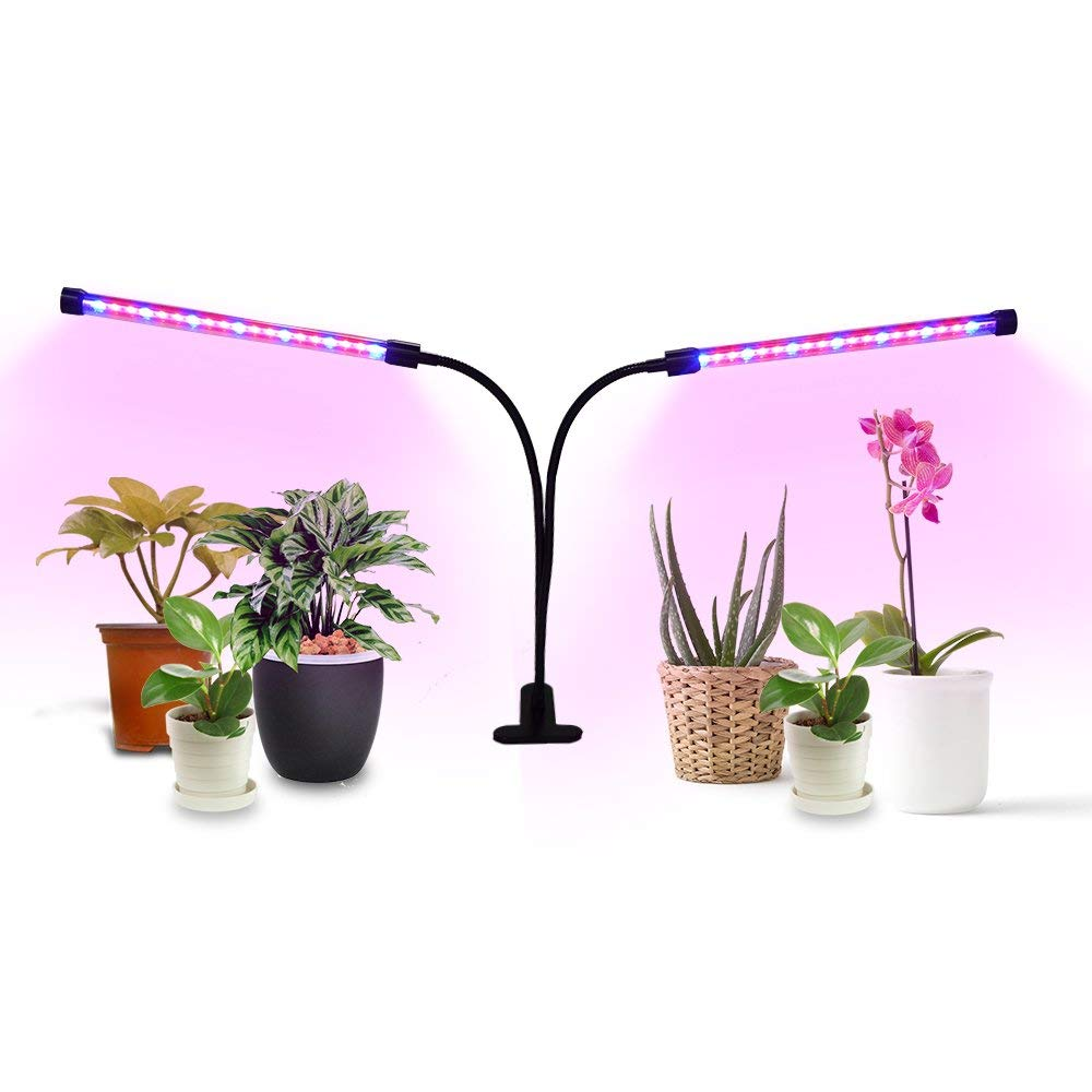 AnjeeIOT LED Grow Light, 18W Dual Head Timing Grow Light,38 LED 10 Dimmable Levels Plant Grow Lights for Indoor Plants with Red/Blue Spectrum, 3/9/12H Timer, 3 Switch Modes [2018 Newest Version]