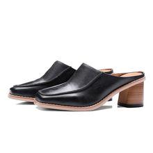 FOREADA/Женская обувь из натуральной кожи; Женские шлепанцы на каждый день из натуральной кожи с квадратным носком на толстом высоком каблуке к...(Китай)