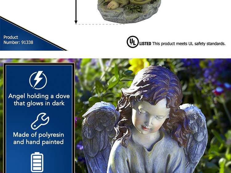 Solar Powered Angel with Glowing Dove Statue LED Light