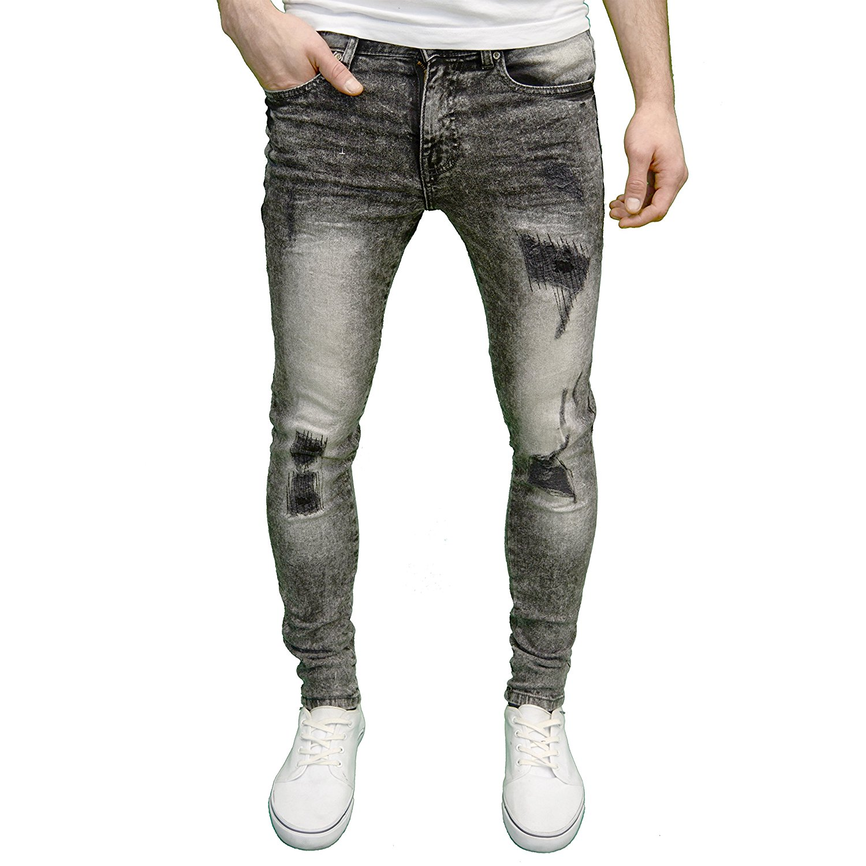 12b6896e1177 Get Quotations · Enzo Mens Designer Branded Ripped Skinny Acid Wash Jeans