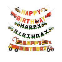 Free Shipping Truck Theme Party Birthday Party Decorations Happy Birthday Banner Construction Birthday Party Supplies
