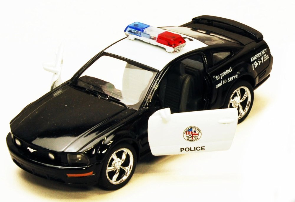2006 Ford Mustang GT Police Car, Black - Kinsmart 5091DP - 1/38 scale Diecast Model Toy Car