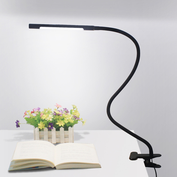 Flexible adjustable metal neck arm clamp clip on desk bedside usb led reading lamp with dimmer switch