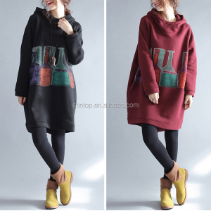 Autumn and winter large - size women's wear and thickening wine bottle printing of long style thin hooded sweater dress