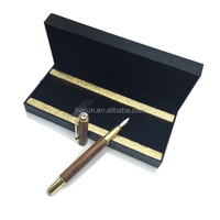 Luxury black rose wood barrel metal clip wooden fountain pen with crystal on top