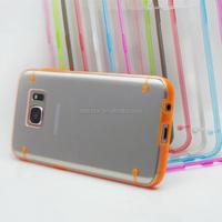 Custom made TPU+PC Luminous color border thin transparent cover phone shell for samsung S7