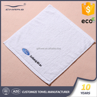 black embroidered logo white small hand towel 100% cotton