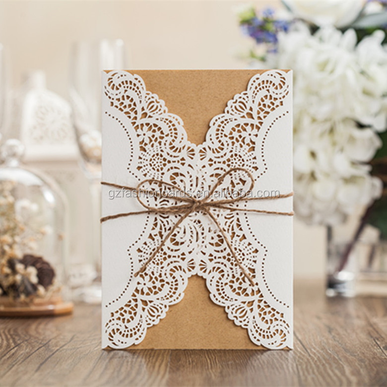 2016 Floral Laser Cut Kraft Wedding Invitations Philippines With ...