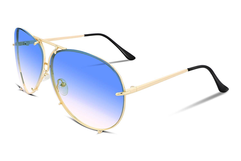 aa355df3ac Get Quotations · FEISEDY Stylish Aviator Oversized Sunglasses For Women Men  Metal Frame UV400 Lens B2265