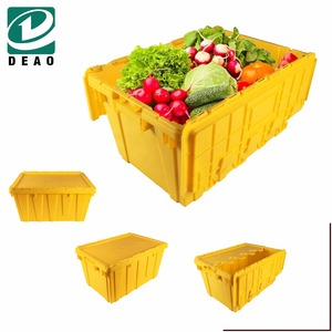 Plastic Stackable Hinged Security Crates Boxes