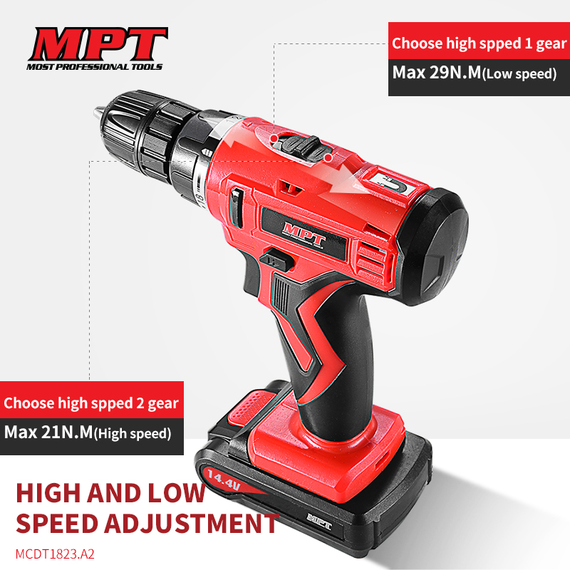 MPT battery lithium ion 18V cordless <strong>drill</strong> with LED light