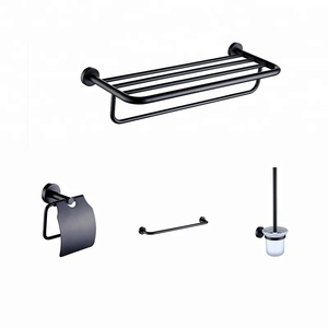 Cheap low price special wall hang mount zinc alloy bathroom washing black matte decorate 4 piece accessories set