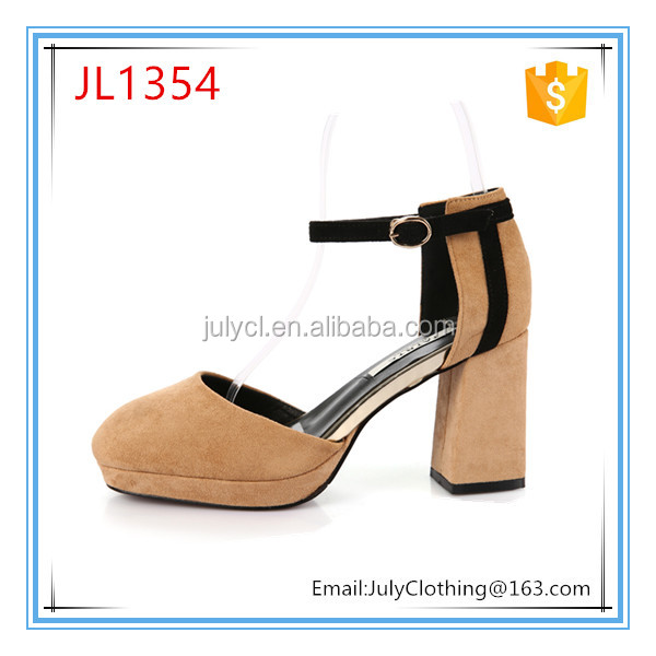 Women fashion Spring Summer ankle Strap block high heel shoes in size 34 to 38