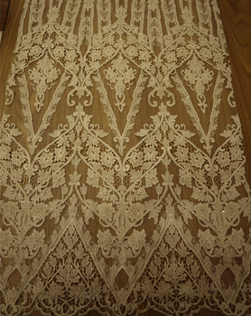 new beautiful popular wholesale mesh hand beaded embroidery lace fabric bridal dress