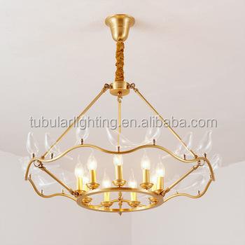 Creative Dove Bird Modern Art Deco Light Gold Frame Candle Holder Led Chandelier Pendant