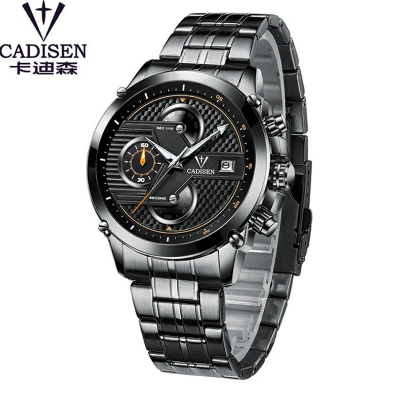 Hombr Hombres Impermeable Reloj Marca Relojes Identificación 9018 Moda Cadisen Pulsera Lujo De Cuarzo 8PXOwkn0