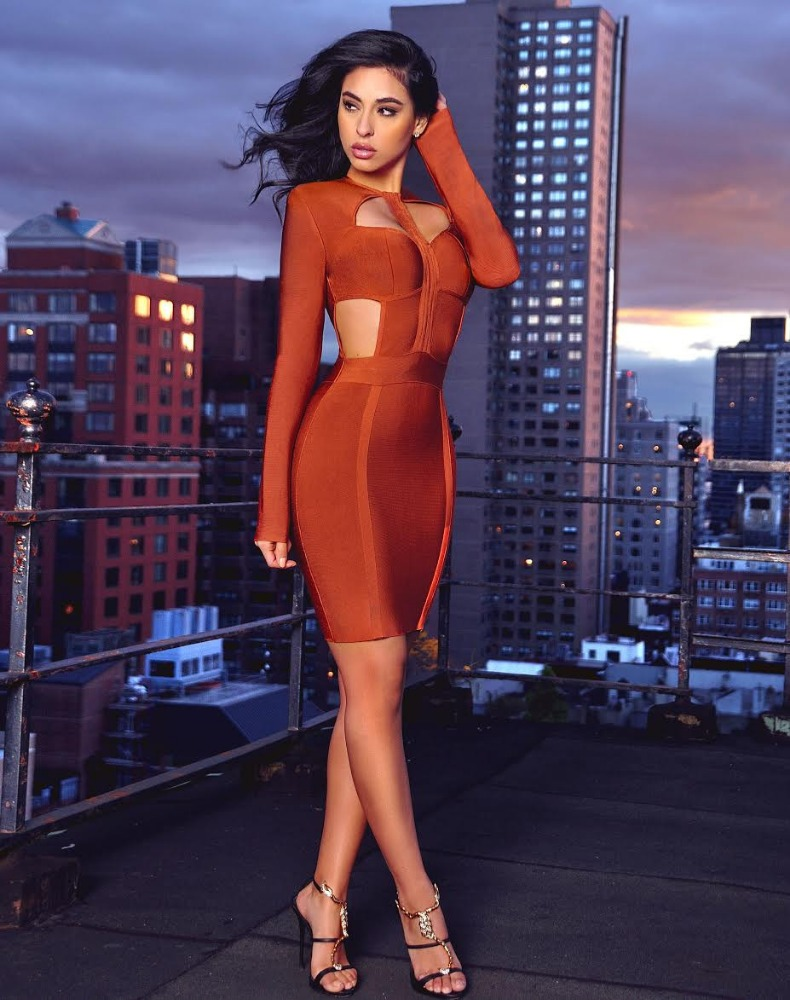 2017 Hot Sale Cutout Detail Rust Long Sleeve Bandage <strong>Dress</strong>