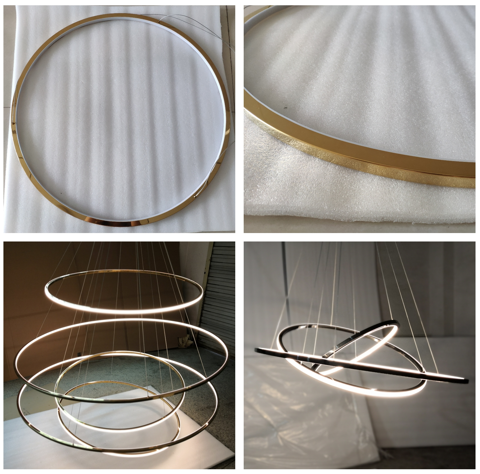 L4u Promotion Gold Brass 11 Rings Circular LED Pendant Light Luxury Chandelier Modern Hanging Lamp for Staircase