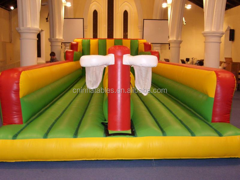giant inflatable Twin Lane Bungee Basket Or Rugby ball,wholesale inflatable games for kids