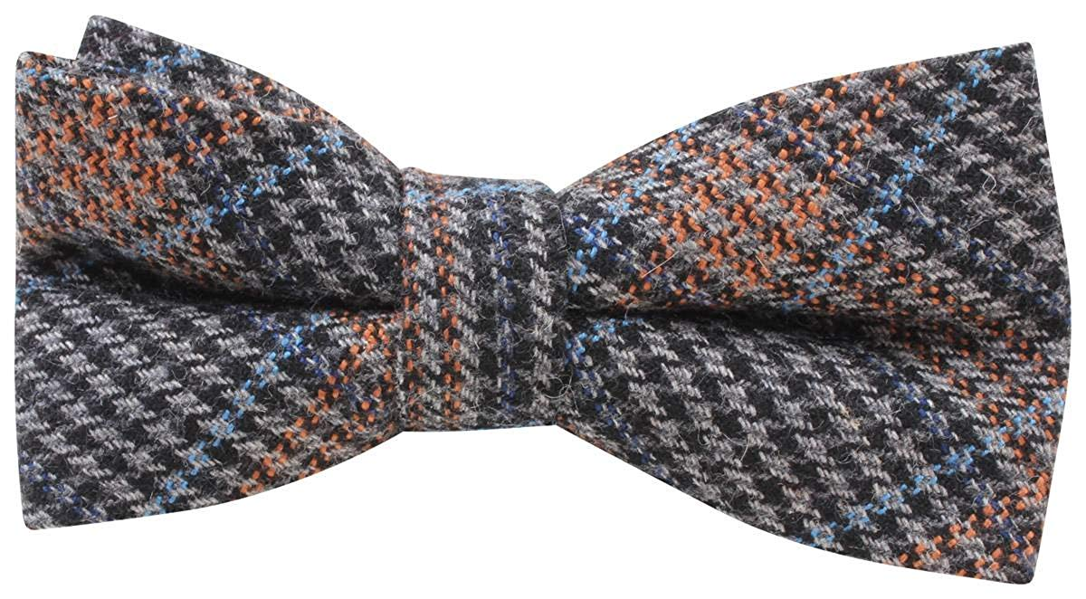 971ab8a84256 Get Quotations · Knightsbridge Neckwear Mens Price of Wales Checked Bow Tie  - Blue/Orange/Grey