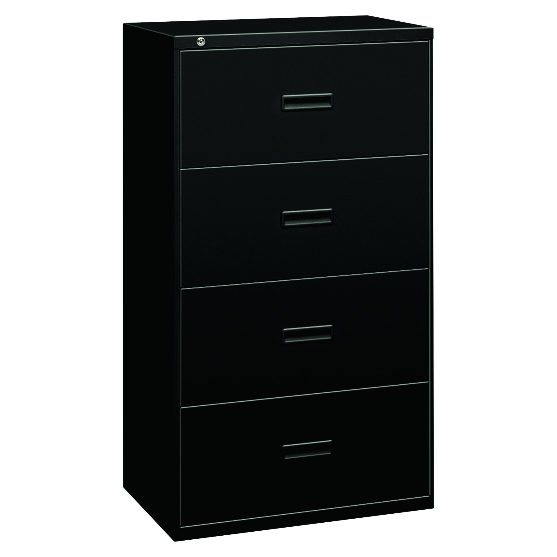 HON Filing Cabinet - 400 Series Four-Drawer Lateral File Cabinet, 30w x 19-1/4d x 53-1/4h, Black, (434LP)