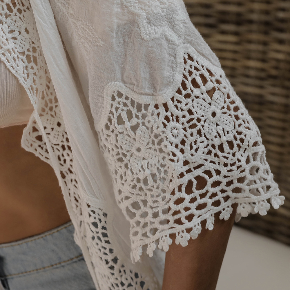 Women's Cover Ups Summer Kimono Beachwear Bikini Lace Crochet Cotton Cardigan Blouses Tops