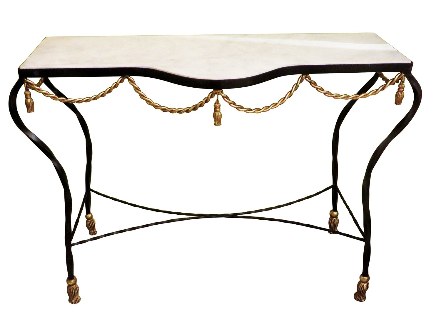 Get Quotations Black Gold Iron Swag Tel Console Table Ornate Marble Metal Sofa Rope