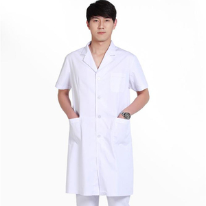 long sleeve unisex white medical uniform doctor uniform chemistry lab coats