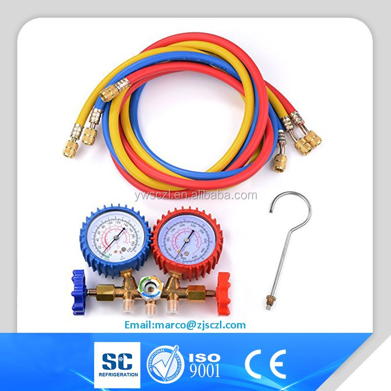"Motor Tech Manifold Gauge Set R12 R22 R134A R502 HVAC A/C Refrigeration Charging, 3 color 60"" Hose"