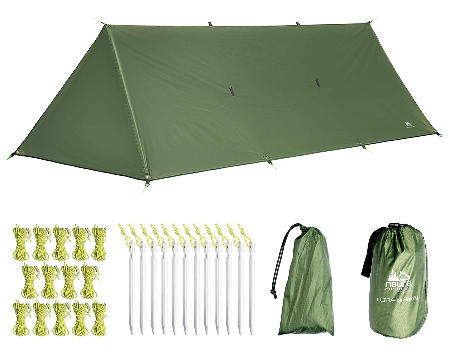 0f83d8e2927 Get Quotations · Camping Rain Fly Tarp 16 x10  with Doors Premium Ultralight  Tent Ripstop Nylon Waterproof