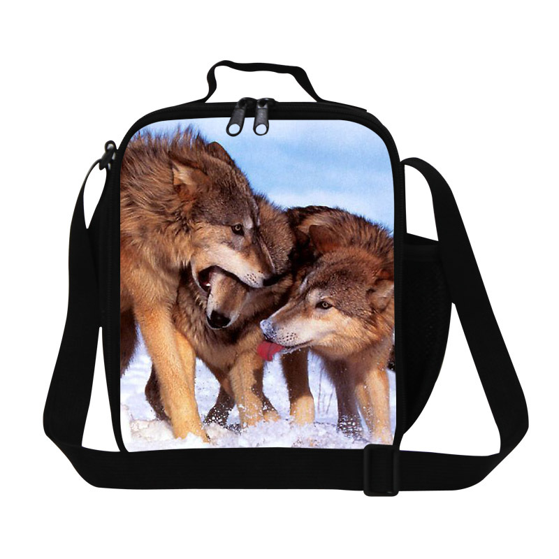 get quotations wolf 3d print cool lunch bag for boys shoulder lunch food bag for
