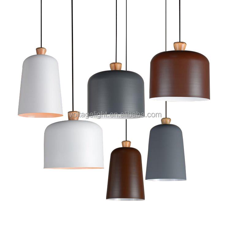 Decorative Hanging Pendant Light Modern Pedant Light Painting Wood Metal Shade Vintage Grey Brown White Color Pendant Light