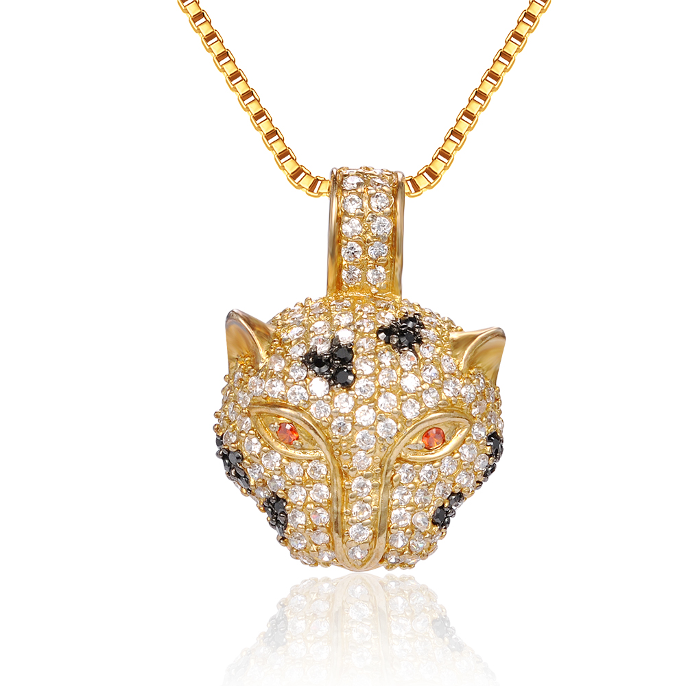 Unisex cat animal leopard lion head gold plated multicolor cubic zirconia crystal brass necklace pendant jewelry for men women