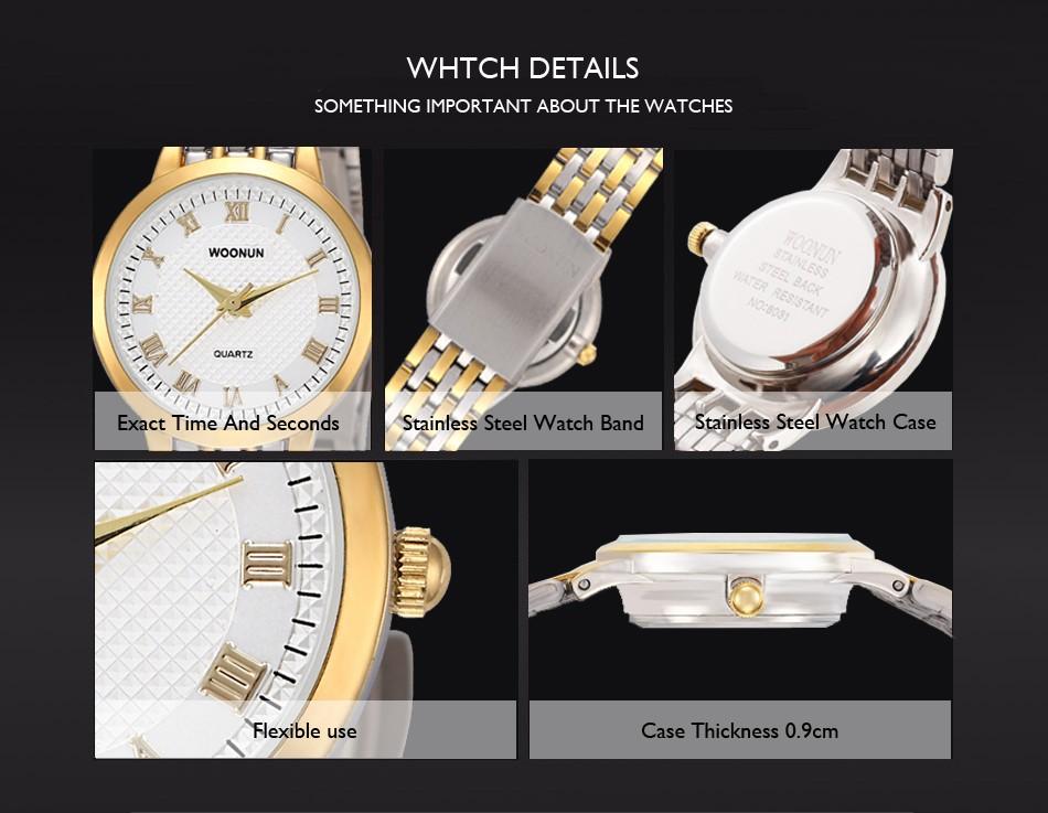New 18k Gold Watches For Women Woonun Top Brand Luxury Stainless Steel Quartz-watch Women Ultra Thin Watches Relogio Feminino Watches