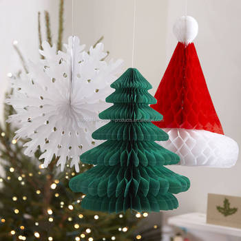 Vintage Honeycomb Red White Christmas Honeycomb Hanging Decorations green Christmas tree Santa's hat snowflake