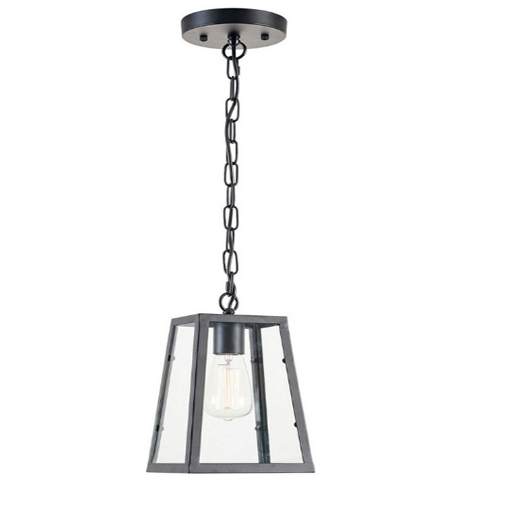 Dinning room lamps Black iron frame clear glass ceiling pendant light for hotel