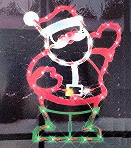 impact innovations christmas lighted window decoration waving santa