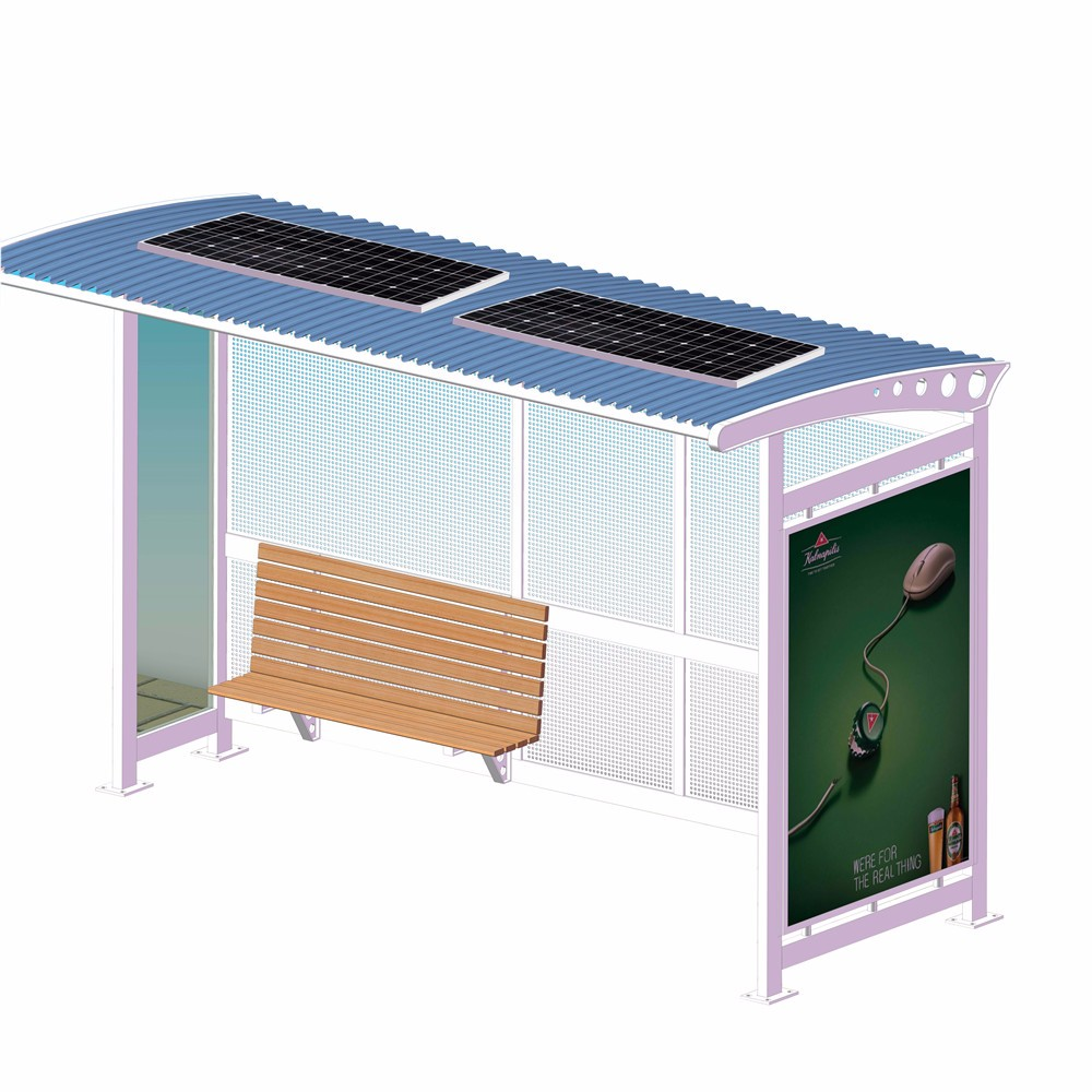 product-Metal Material Solar Powered Outdoor Bus Shelter-YEROO-img